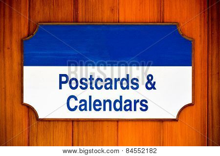 Post cards And Calendars Sign
