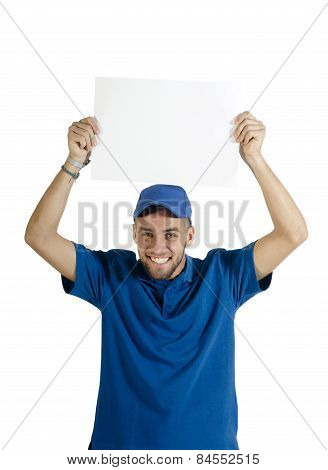Young handsome employee holding up white noticeboard