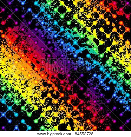 Black grunge droplet pattern on diagonal rainbow background.