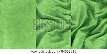 Set Of Dark Green Suede Leather Textures