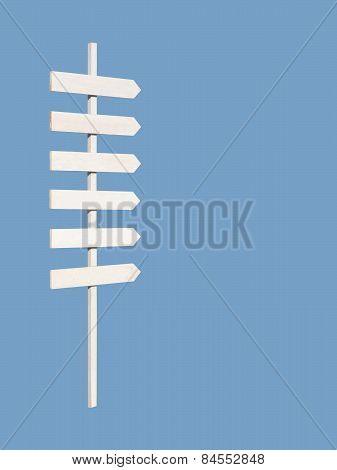White wooden rustic sign post with six arrows on blue