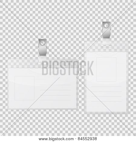 Empty Tag Badge Holder Isolated On Transparency Background