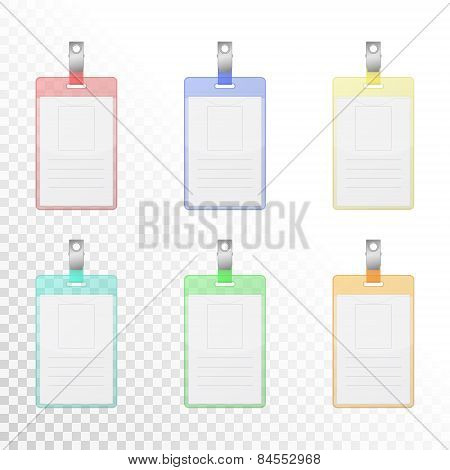 Set Of Transparency Colorful Vertical Identification Cards