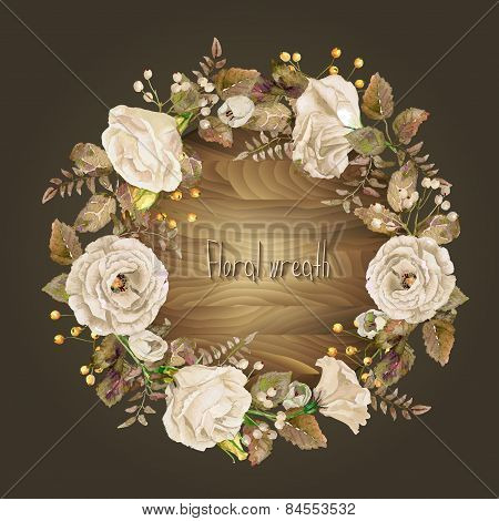 Vector Round Frame Of White Watercolor Roses And Berries On Wooden Background.
