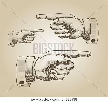 Retro pointing hand