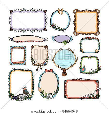 Colorful doodle frames