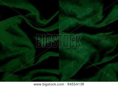 Set Of Rumpled Dark Emerald Suede Leather Textures
