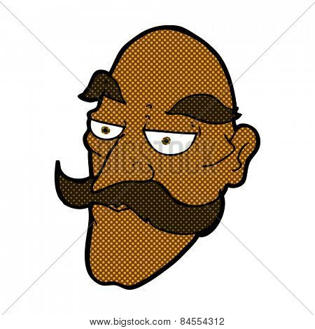 retro comic book style cartoon old man face