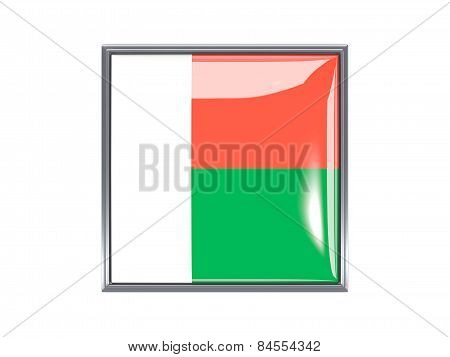 Square Icon With Flag Of Madagascar