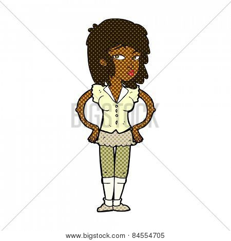 retro comic book style cartoon pretty woman with hands on hips