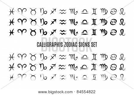 Calligraphic zodiac sign set