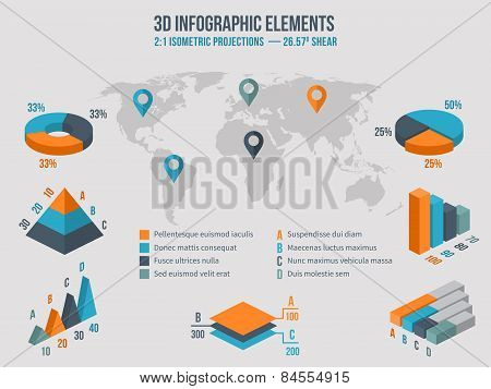 Business infographics elements. Vector 3d charts on map
