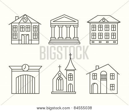 House building icons set in line style