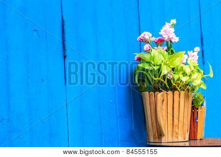 Vintage Home Arrangement, Summer Flowers And Enamelware On Wall Background, Soft Pastel Colors