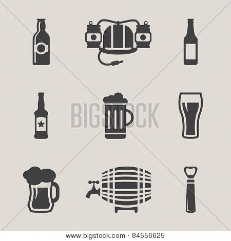 Beer vector icons set bottle, glass