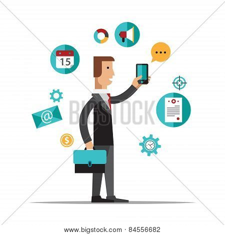 Businessman using mobile phone for business process organization, lifestyle routine and internet bro