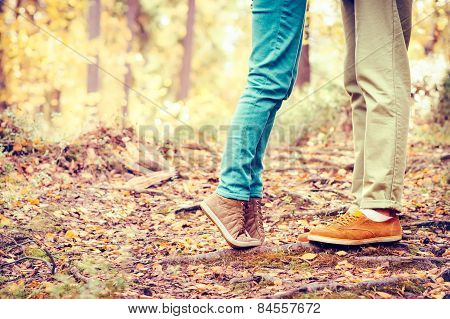 Couple Man and Woman Feet in Love Romantic Outdoor Lifestyle