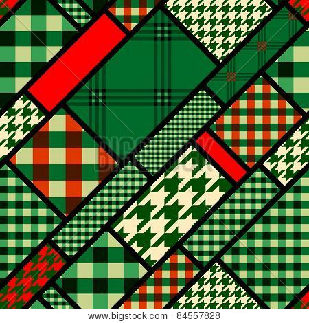 Patchwork pattern with green plaid patches.