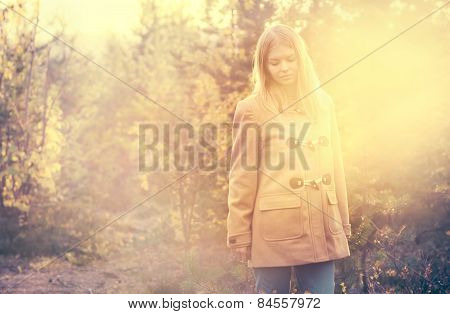 Young Woman walking outdoor harmony with nature