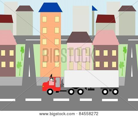 Big Truck Moving Through The City