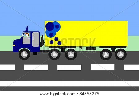 Big Truck Moving On The Highway