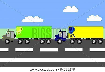 Big Trucks Moving On The Highway, Animation, Cartoon