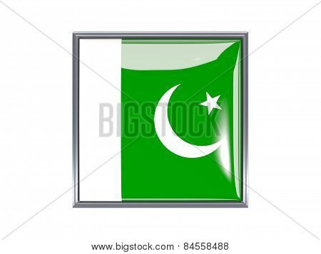 Square Icon With Flag Of Pakistan