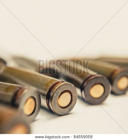Ammo macro image. Back side of the AK-47 shells
