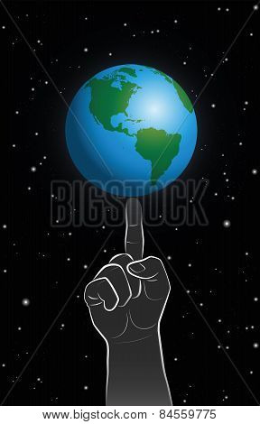 God Power Finger Planet Earth