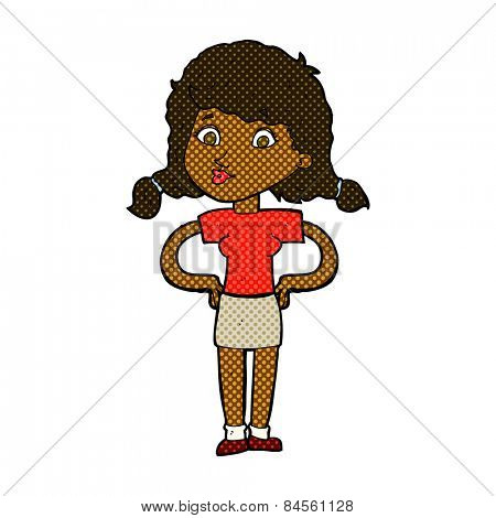 retro comic book style cartoon pretty girl with hands on hips