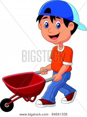 Cute boy cartoon pushing a wheelbarrow