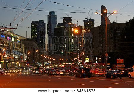 Business centre Moscow-city in the evening, Russia