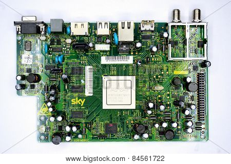 Green Printed Circuit Board With Radio Parts