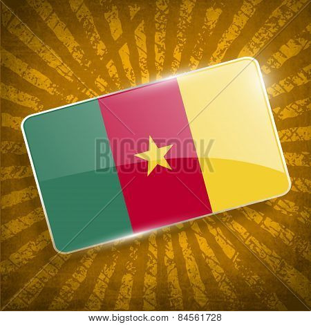 Flag Of Cameroon With Old Texture. Vector