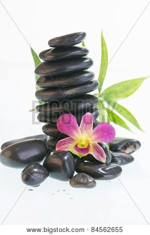 Black Zen Stones With Orchid
