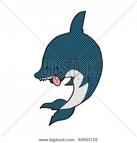 funny retro comic book style cartoon shark