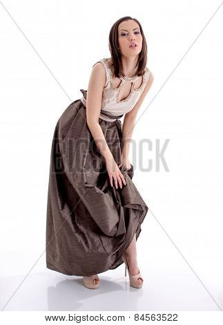 Beautiful Woman In A Brown Dress