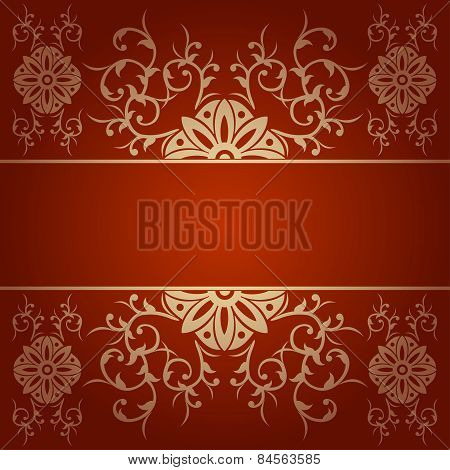 Baroque Flowers Vector Background Red