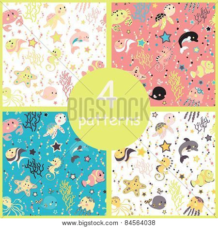 Sea creatures seamless pattern