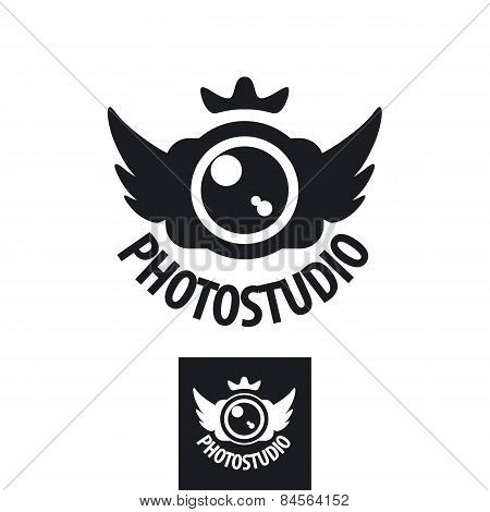 Camera Vector Icon With Crown And Wings
