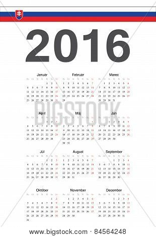 Slovak 2016 Year Vector Calendar