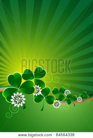 Holiday Card On St. Patrick's Day. March 17. Striped Background With Clovers