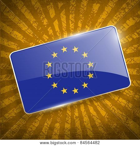 Flag Of European Union With Old Texture. Vector