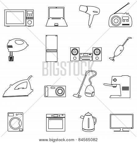 Home Electrical Appliances Outline Icons Set Eps10