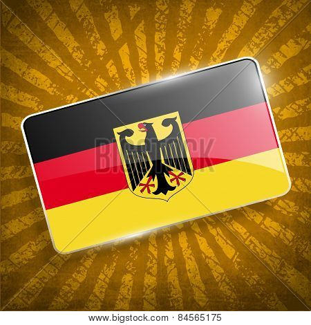 Flag Arms Of Germany With Old Texture. Vector