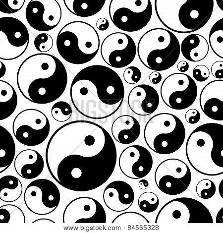 Yin And Yang Symbols Seamless Black And White Pattern Eps10