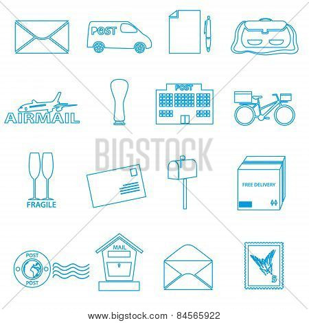 Post And Mail Blue Outline Icons Set Eps10