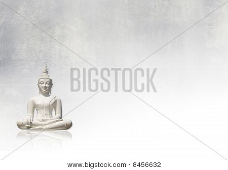 Grunge background with white buddha