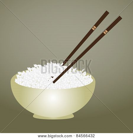 Boiled Rice In Bowl With Chopsticks Eps10