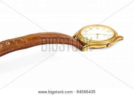 Men, used and broken hand watch on white background